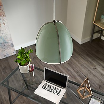 Mint and Satin Nickel shade color / in use