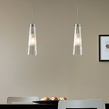 Shown lit in Clear shade with Satin Nickel finish