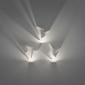 Shown lit in Off-White matte finish, LED + 5 Block option, rotated