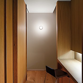 In use as wall sconce indoors, illuminated