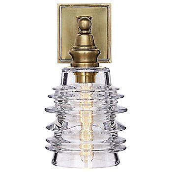 Shown in Clear Ribbed Wide shade with Antique-Burnished Brass finish