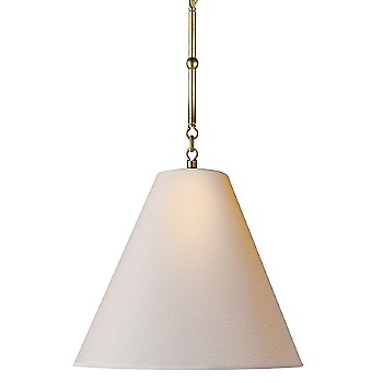 Shown in Natural Paper shade with Hand-Rubbed Antique Brass finish, Small size