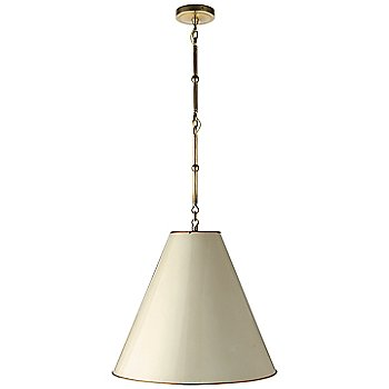 Shown in Antique White with Brass Interior and Hand-Rubbed Antique Brass finish, Medium size