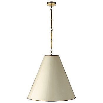 Shown in Antique White with Brass Interior and Hand-Rubbed Antique Brass finish, Large size