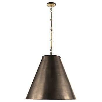 Shown in Bronze with White Interior and Hand-Rubbed Antique Brass finish, Large size