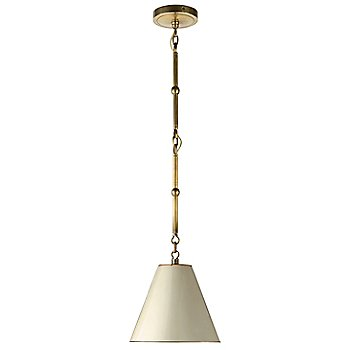 Shown in Antique White with Brass Interior with Hand-Rubbed Antique Brass finish