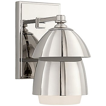 Polished Nickel with Polished Nickel and White Glass Shade