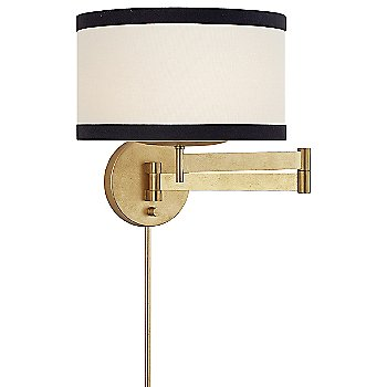 Gild with Cream Linen Shade with Black Linen Trim