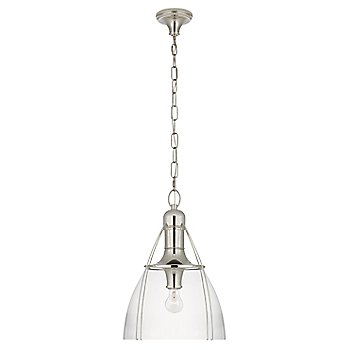 Clear Glass color / Polished Nickel finish / Large size