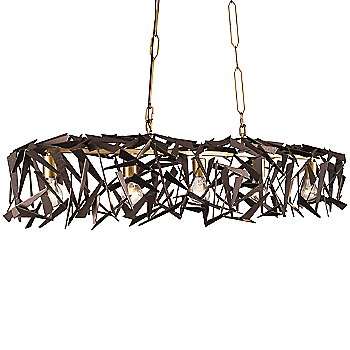 5 Lights, Antique Gold/Rustic Bronze finish