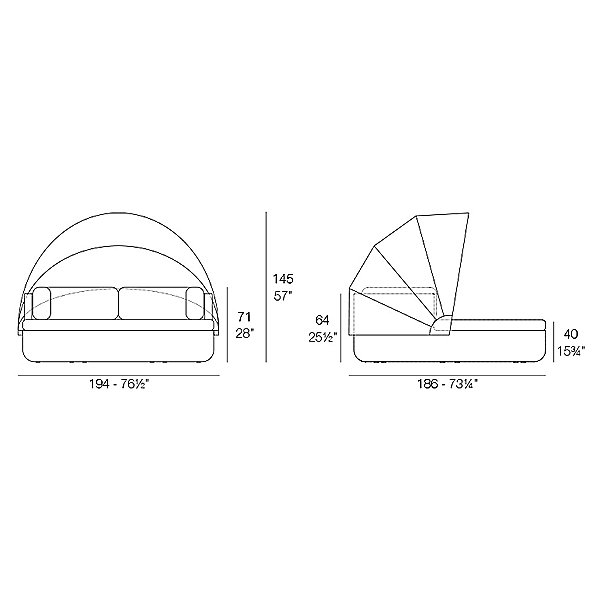 Ulm Daybed with folding sunroof