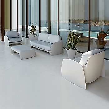 Pezzettina Small Planters with Pezzettina Sofa and Lounge Chair, and with Blow Coffee Table