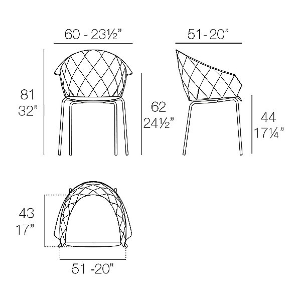 Vases Stackable Chair, Set of 4