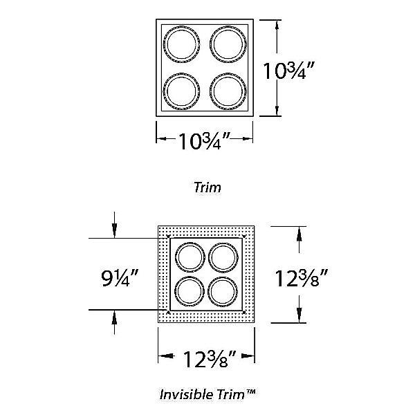 Wac Lighting Precision Multiples 4 Inch 2x2 Trim Ylighting Com