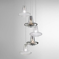 Romeo&Giulietta 5 Light Multipoint Pendant Light - Metallic
