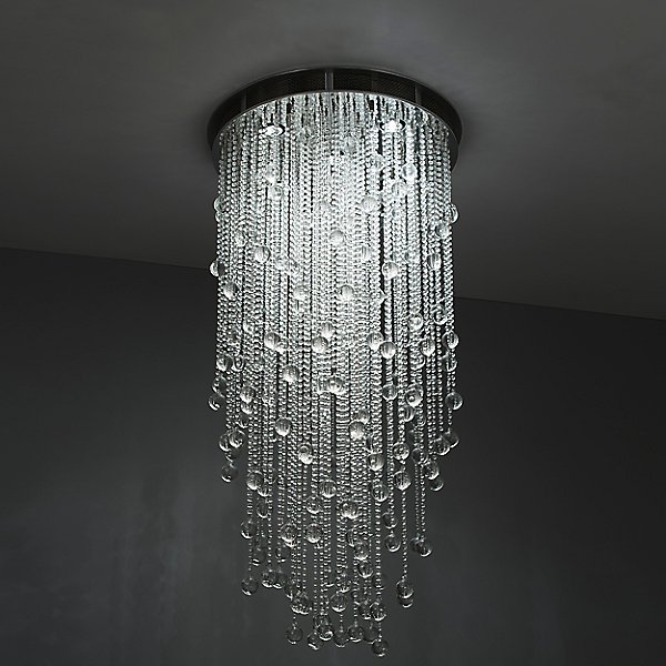 Cascade Round Suspension Light by Boyd Lighting Color Clear Finish Satin Nickel Mesh K0136120120