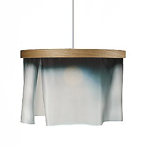 Oak and Silk Pendant Light by Brunklaus Amsterdam Lighting