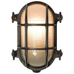 Oval Wathered Brass Bulkhead Outdoor Wall Light