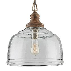 Wood and Glass Bell Pendant (Grey Wash) - OPEN BOX RETURN
