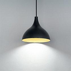 Copa LED Pendant (Black Gold Ribbed/13 Inch)-OPEN BOX RETURN