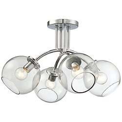 Exposed Semi-Flush Mount Ceiling Light
