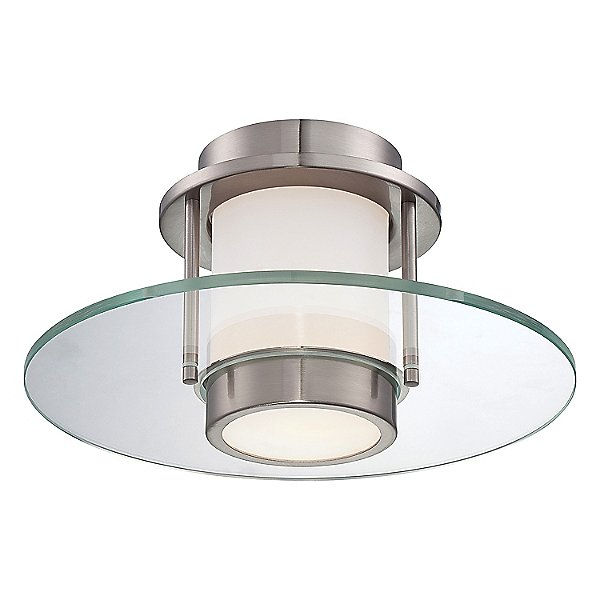 P854 Flush Mount Ceiling Light By George Kovacs - Color: Silver - Finish: Nickel - (p854-084)