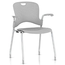 Caper Stacking Chair w/ Flexnet Seating (Fog) - OPEN BOX