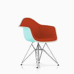 Eames Molded Plastic Side Chair with Wire Base, Upholstered