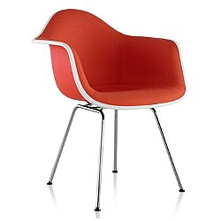 Eames Molded Plastic Armchair with 4-Leg Base, Upholstered