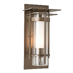 Banded Seeded Glass Outdoor Wall Light with Top Plate