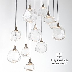 Gem Round Multi-Light Pendant (Clear/Silver/8) - OPEN BOX