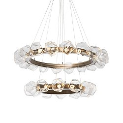 Gem Radial Ring Two-Tier LED Chandelier