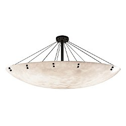 Clouds Finials 72-Inch Round Bowl Semi-Flush Mount Ceiling Light