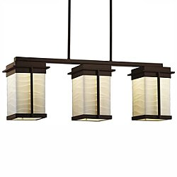 Porcelina Pacific Three Light LED Outdoor Linear Suspension Light