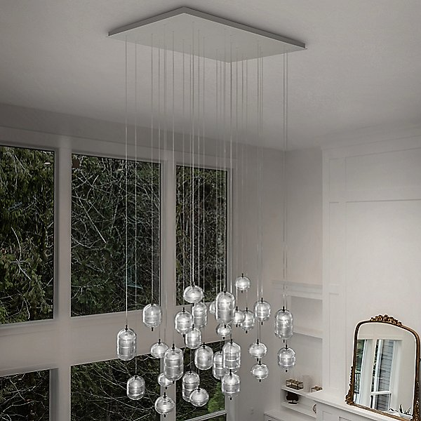 Jefferson LED Rectangular 28 Light Multi Light Pendant Light by Studio Italia Design Color Clear Finish Black Chrome 168401 168402 168403 154621