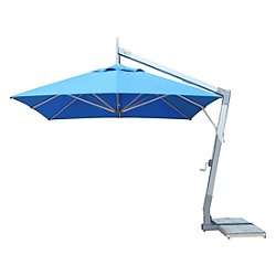 Hurricane Square Side Wind Aluminum Cantilever Umbrella With Base, 11 Ft.
