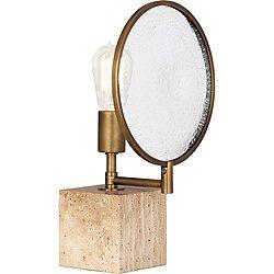 Fineas Accent Lamp (Aged Brass w/ Travertine Stone)-OPEN BOX