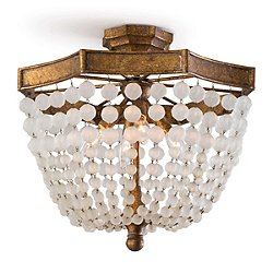 Frosted Crystal Bead Semi-Flush Mount Ceiling Light