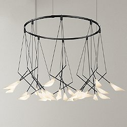Suspenders 32 Inch Single Ring Pendant Light with Petal Shades