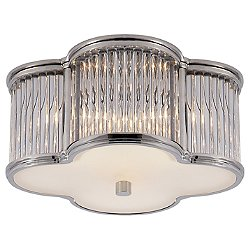 Basil Flush Mount Ceiling Light With Clear Glass Rods