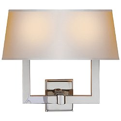 Square Tube Double Wall Light with Single Shade