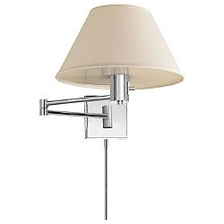 Classic Swing Arm Wall Sconce with Linen Shade