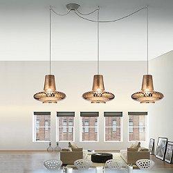 Romeo&Giulietta 3 Light Multipoint Pendant Light - Metallic