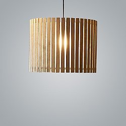 Luz Oculta Wood Drum Pendant Light