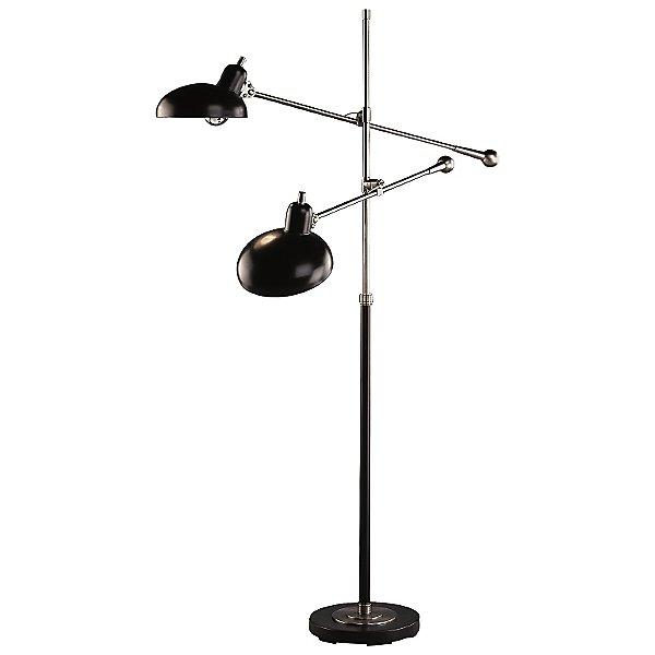 Bruno Adjustable Double-Arm Pharmacy Floor Lamp by Robert Abbey - Color: Nickel - Finish: Nickel - (1848)