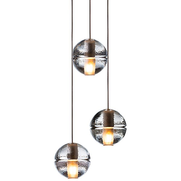 14.3 Three Pendant Chandelier By Bocci - Color: Amber - Finish: Clear - (14.3-am-led)