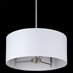 Walker 3-Arm Drum Chandelier (White Linen/Nickel) - OPEN BOX