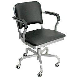 Navy Upholstered Swivel Armchair