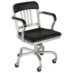 Navy Semi-Upholstered Swivel Armchair