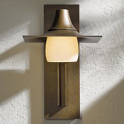 Hood Outdoor Tall Wall Light with Glass